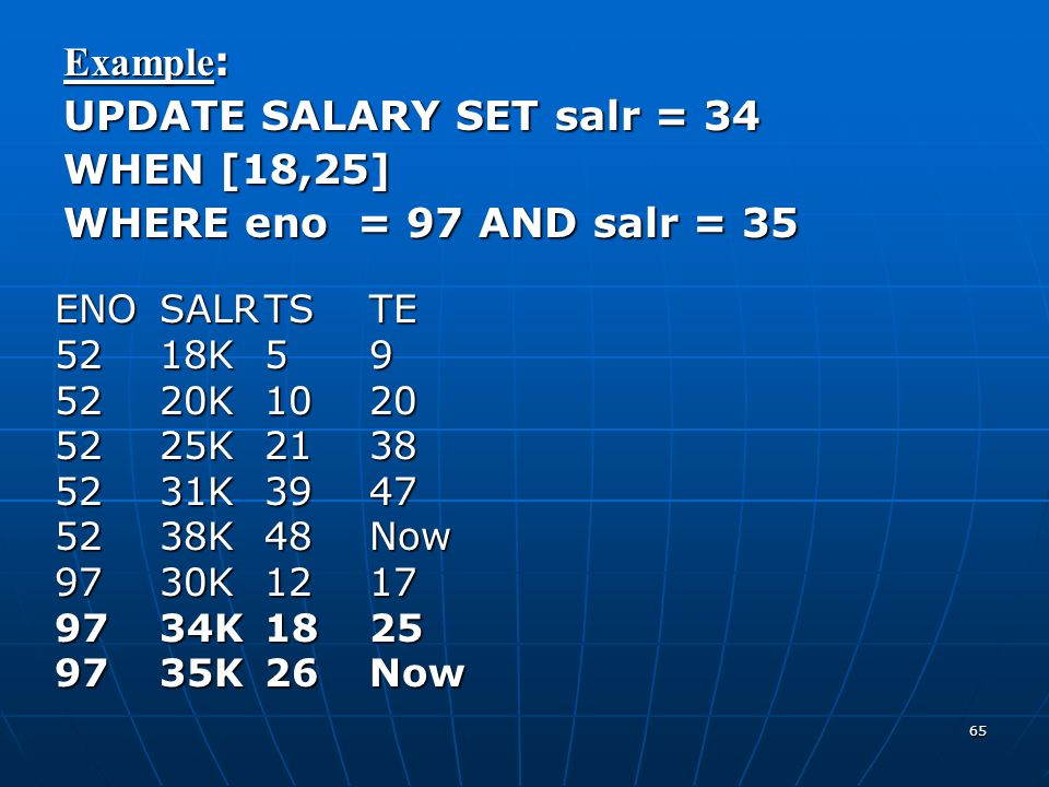 UPDATE SALARY SET salr = 34 WHEN [18,25] WHERE eno = 97 AND salr = 35